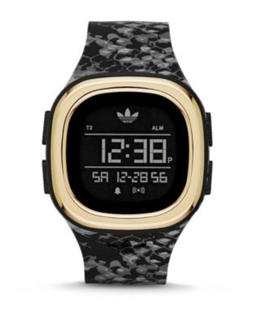 Adidas Digital Snakeskin Silicone Strap Watch - BLACK