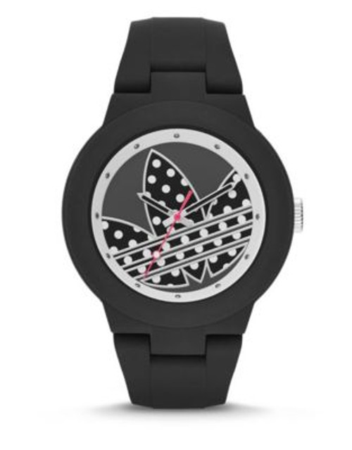 Adidas Aberdeen Polka Dot Silicone Watch - BLACK