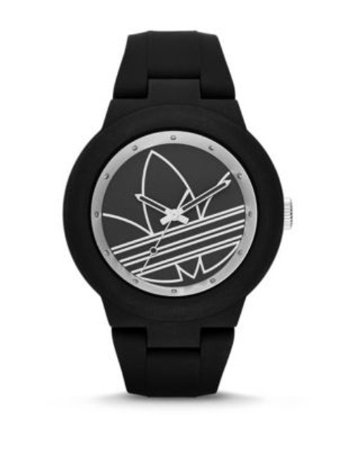 Adidas Aberdeen Trefoil Silicone Watch - BLACK