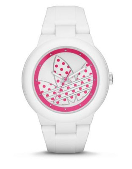 Adidas Aberdeen Polka Dot Silicone Watch - WHITE