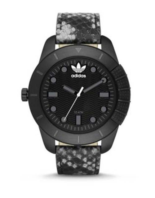Adidas Snakeskin Leather Strap Analog Watch - BLACK
