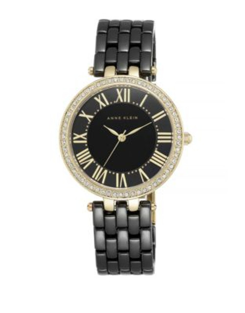 Anne Klein Analog Black Ceramic Link Bracelet Watch - BLACK