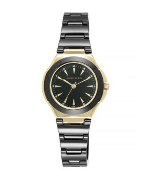 Anne Klein Analog Goldtone Ceramic Watch - BLACK