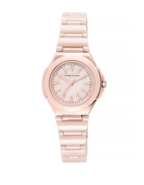 Anne Klein Analog Pink Ceramic Bracelet Watch - ROSE GOLD
