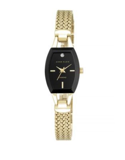 Anne Klein Analog Goldtone Diamond Accent Watch - GOLD