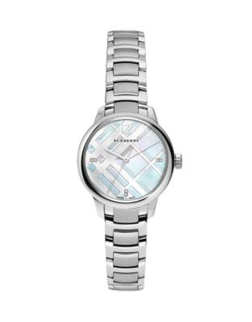 Burberry Stainless Steel Classic Round Watch with Diamond Accents - SILVER