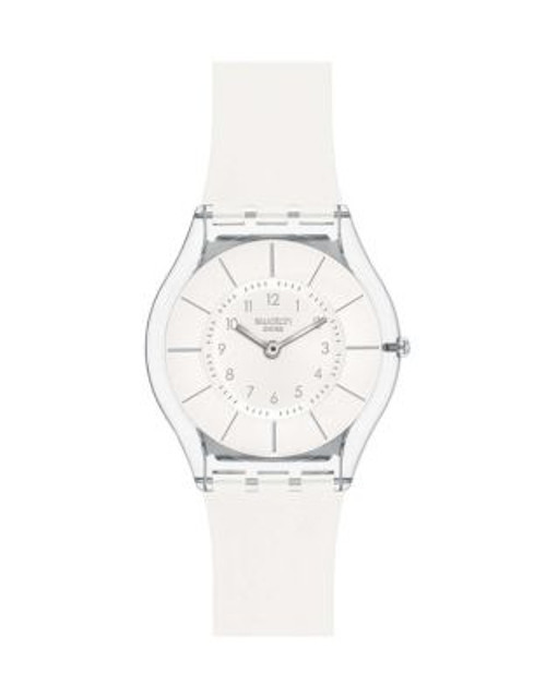 Swatch White Classiness Silicone Strap Watch - WHITE