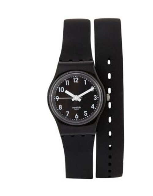 Swatch Wrap-Around Silicone Strap Watch - BLACK