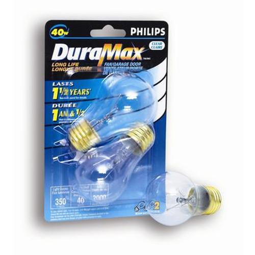 40W Fan/Garage Door Clear Bulb 2Pk
