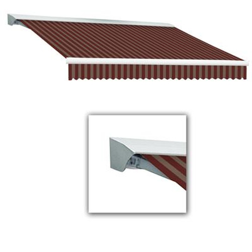 10 Feet DESTIN (8 Feet Projection) Motorized (left side) Retractable Awning with Hood - Burgundy / Tan Stripe
