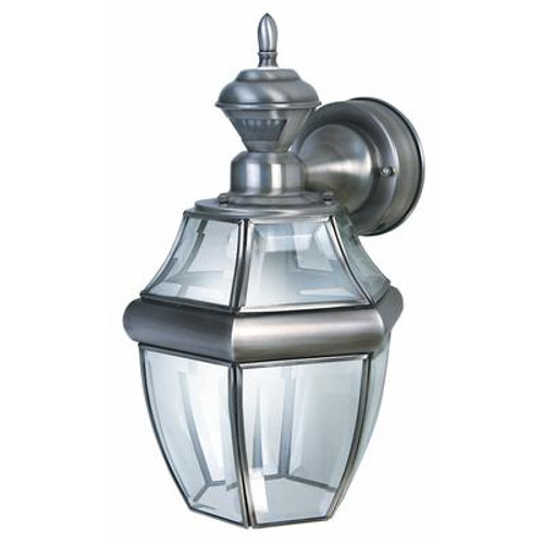 Heath Zenith 150 Degree Hanging Carriage Lantern with Clear Beveled Glass - Silver