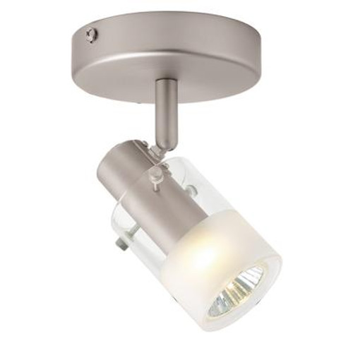 1 Light Semi-Flushmount Cylinder Glass Ceiling Fixture Brushed Nickel Finish