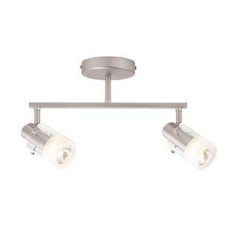 2 Light Semi-Flushmount Cylinder Glass Track Bar Fixture Brushed Nickel Finish