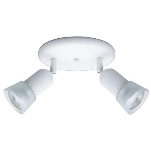 2 Light Semi-Flushmount Ceiling Fixture Matte White Finish Etched Glass Shades