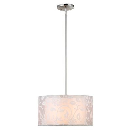 1 Light Barrel Pendant Chrome Finish Fabric Shade