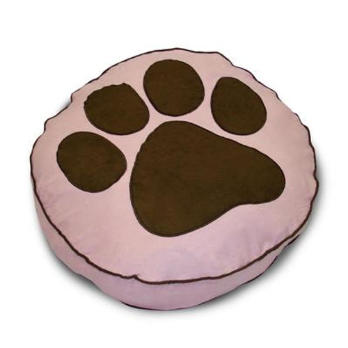 Round Paw Print Pink Pet Bed