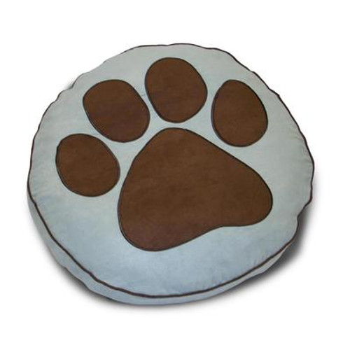 Round Paw Print Powder Pet Bed