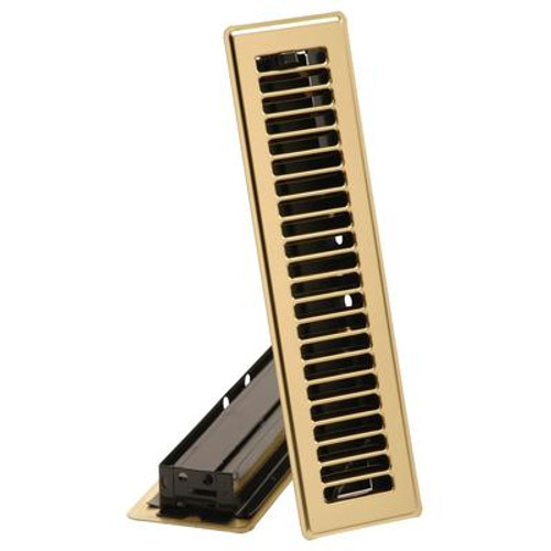 2 1/4  x 12  Floor Register - Brass