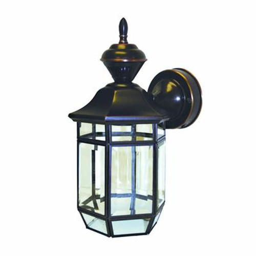 Heath Zenith 150 Degree Lexington Lantern with Clear Beveled Glass - Antique Copper