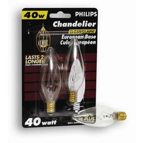 40W Chandelier European Base Clear 2 Pack