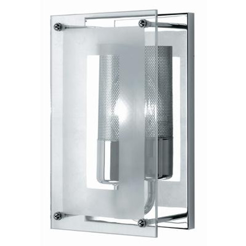 1 Light Wall Sconce Chrome Finish Clear Glass