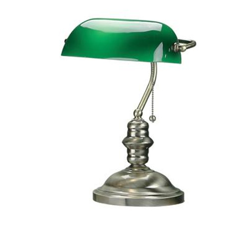 1 Light Table Lamp Brass Finish Green Glass Shade