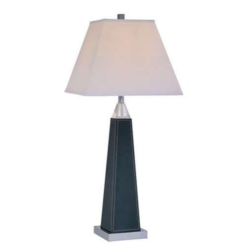 1 Light Table Lamp Black Finish White Fabric Shade