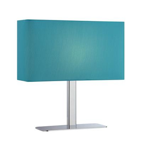 1 Light Table Lamp Chrome Finish Blue Fabric Shade