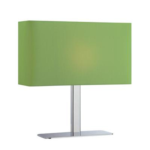 1 Light Table Lamp Chrome Finish Green Fabric Shade