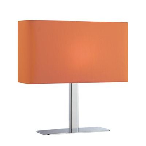 1 Light Table Lamp Chrome Finish Orange Fabric Shade