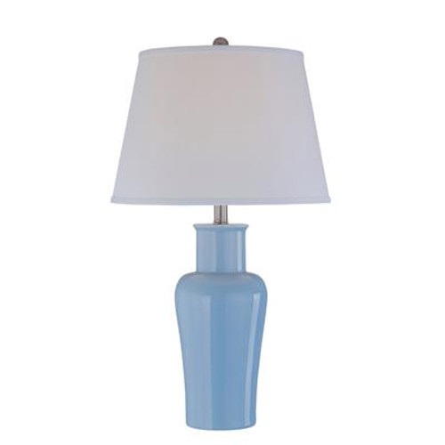 1 Light Table Lamp Blue Finish White Fabric Shade