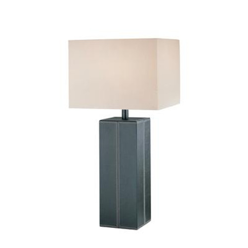 1 Light Table Lamp Brown Finish White Fabric Shade
