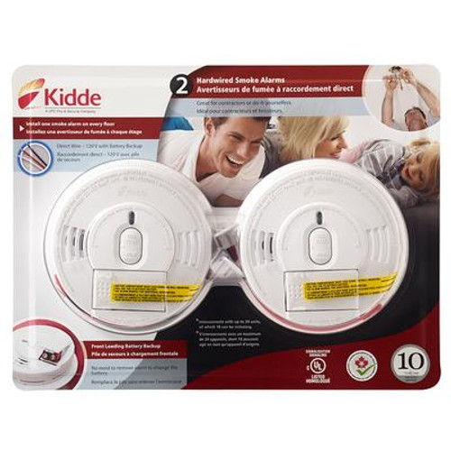 Front Load Smoke Alarm with Hush  hardwire with battery backup - TWIN