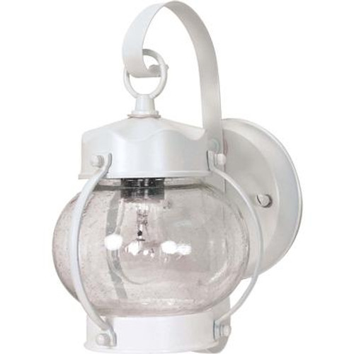 1-Light 11 Inch Wall Lantern Onion Lantern with Clear Seed Glass finished in White