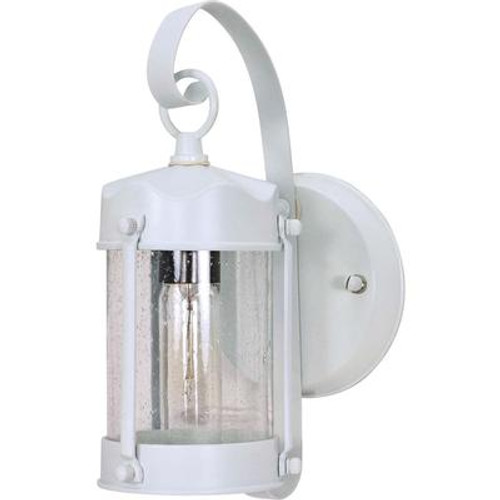 1-Light 11 Inc  Wall Lantern Piper Lantern with Clear Seed Glass finished in White