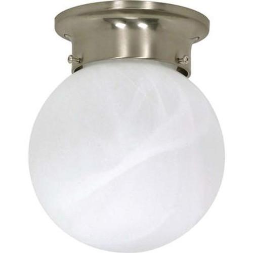 1-Light Flush-Mount Brushed Nickel Ceiling Fluorescent Light Fixture