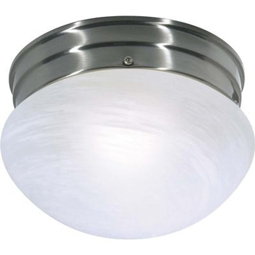 1-Light Brushed Nickel Fluorescent Small Mushroom with Alabaster Glass (1) 13 watt CFL Bulb Included