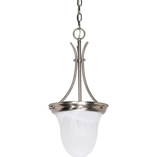1 Light Brushed Nickel Fluorescent 10 Inch  Pendant with Alabaster Glass  (1) 13W CFL Bulb Included