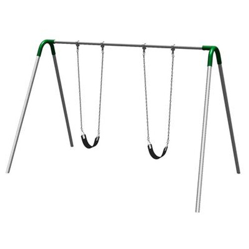 Single Bay Bipod Swing Set w/ Strap Seats & Green Yokes