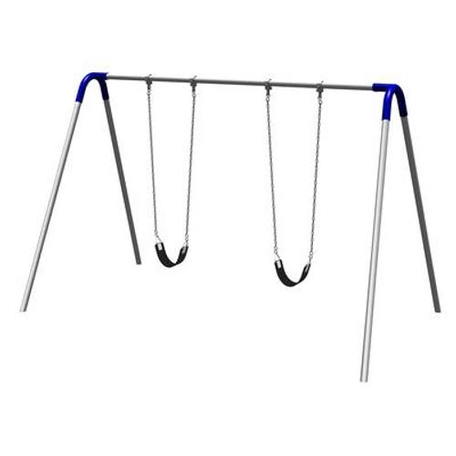 Single Bay Bipod Swing Set w/ Strap Seats & Blue Yokes