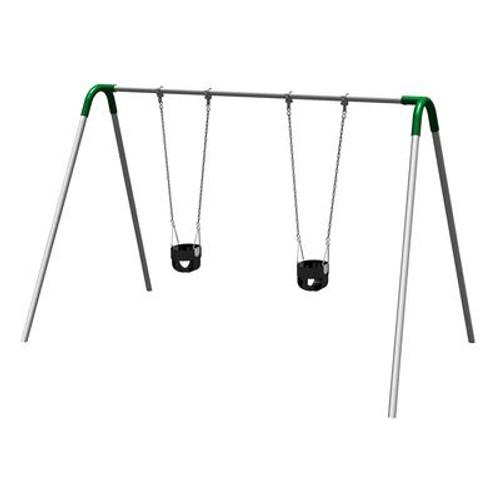 Single Bay Bipod Swing Set w/ Tot Seats & Green Yokes