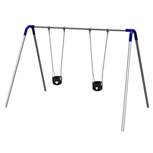Single Bay Bipod Swing Set w/ Tot Seats & Blue Yokes