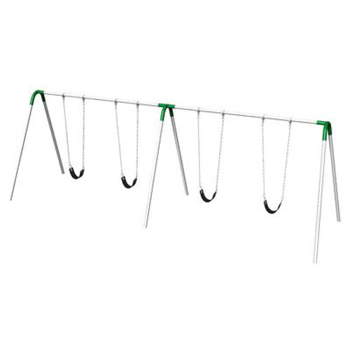 Double Bay Bipod Swing Set w/ Strap Seats & Green Yokes