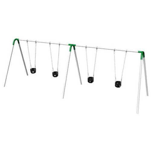 Double Bay Bipod Swing Set w/ Tot Seats & Green Yokes