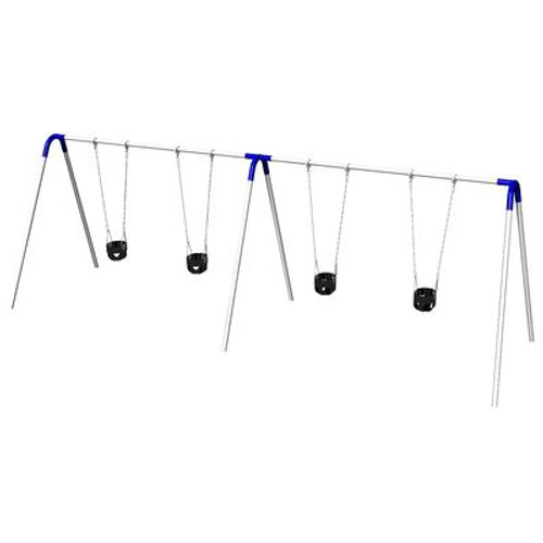 Double Bay Bipod Swing Set w/ Tot Seats & Blue Yokes