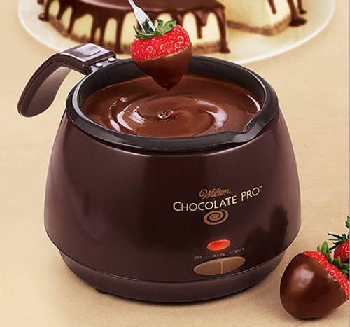 Wilton Chocolate Pro Electric Melting Pot with chocolate dipped strawberries