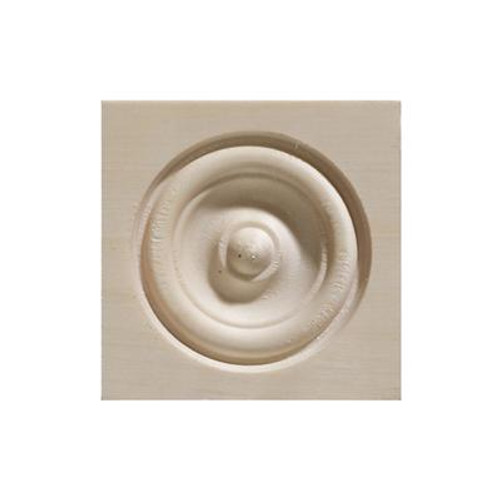 White Hardwood Bull'S Eye Corner Block - 2-1/2 x 2-1/2 Inches