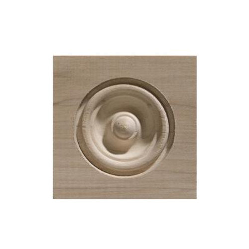 White Hardwood Bull'S Eye Corner Block - 3-1/4 x 3-1/4 Inches