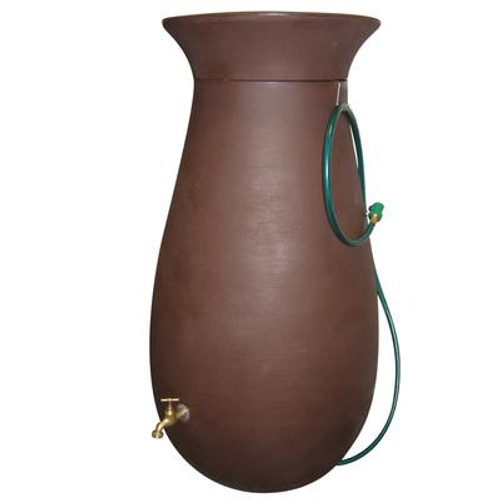 Cascata 65 Gallon Decorative Rain Barrel with Integrated Planter - Dark Brown