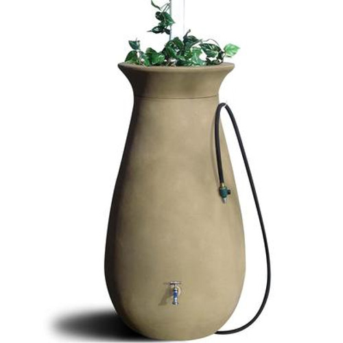 Cascata 65 Gallon Decorative Rain Barrel with Integrated Planter - Sandalwood